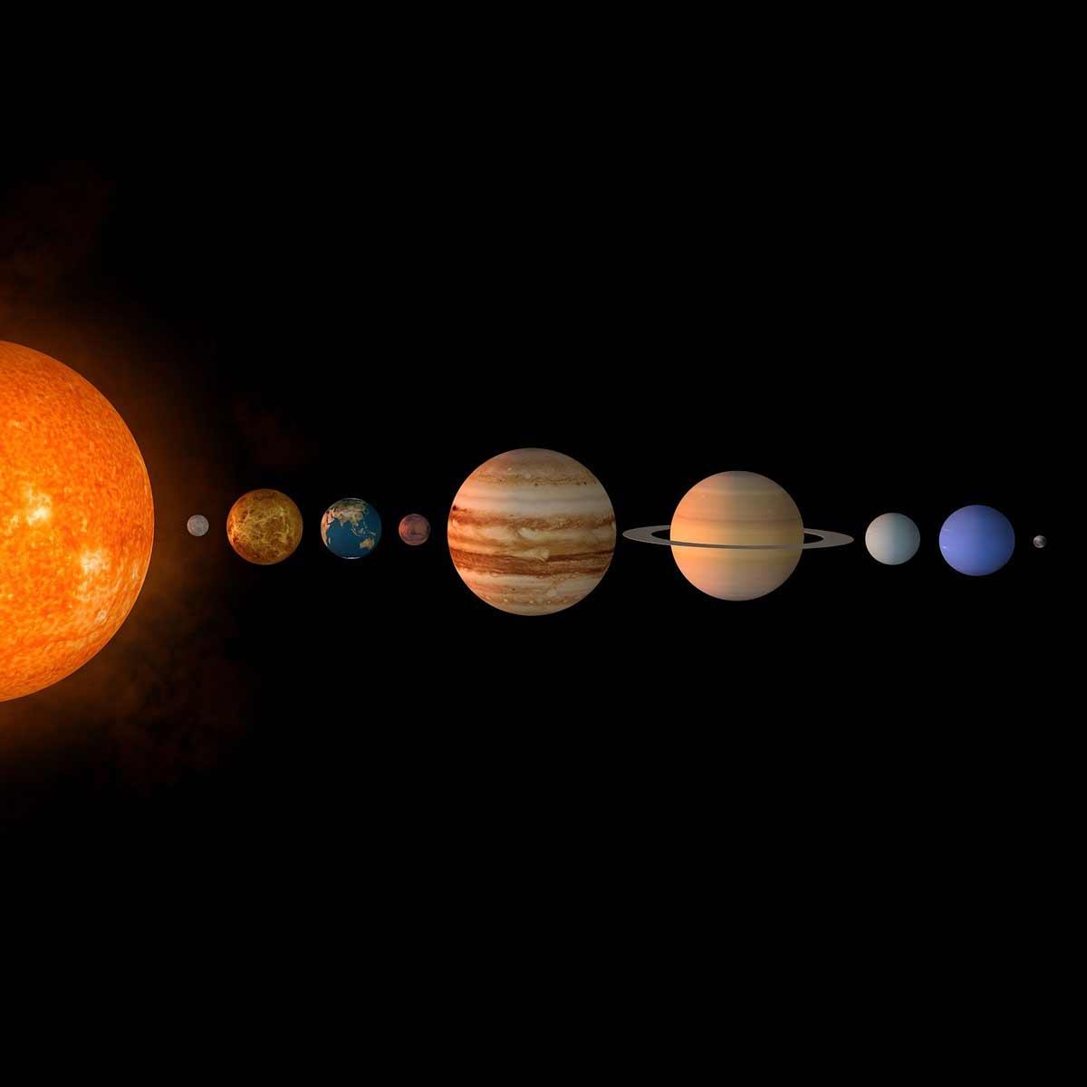 Luz Pura del Sistema Solar Sol, planetas, Pléyades y Arturo